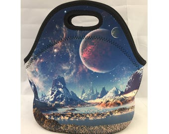 C.C. Neoprene Insulated Lunch Bag | Kids Lunch Bag | Office Lunch Bag | Lunch Box |Vacation Cooler Bag|Teacher Gift Nurse Gift|Galaxy Planet