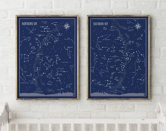 Little & Big Astronomer Prints Set - southern and northern sky poster, constellations print, back to school