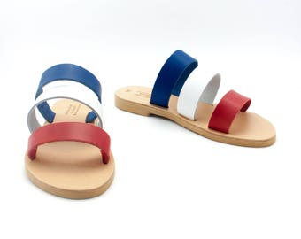 Colorful sandals, Blue White and Red slides, Women sandals