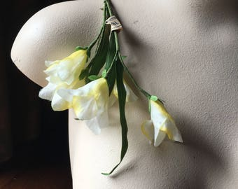 White & Yellow Freesia Silk Millinery Flowers  for Bridal, Boutonnieres, Hats, Corsages, Bouquets MF 242wy