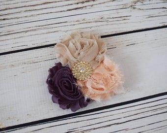 Handcrafted Nude Blush and Dusty Purple Shabby Rose Hair Clip - Alligator Hair Clip - Gold Rhinestone Hair Piece - Adult Hair Clip -Amethyst