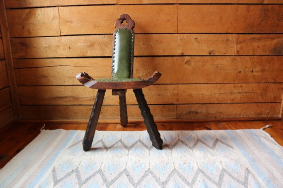 - Hand-Carved Birthing Chair Antique With Studded Green
