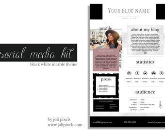 Social Media Kit   Blogger Media Kit   Social Media Templates   Branding package   Marble template   Social Branding
