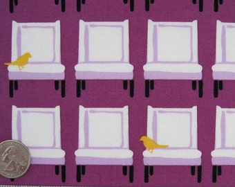 """1.8 Yards CHAIRS White Purple - Laurie Wisbrun, Tufted Tweets Cotton Quilt Fabric - Robert Kaufman Rare Out of Print  2 pcs- 1 Yd & 20"""" + Fq"""