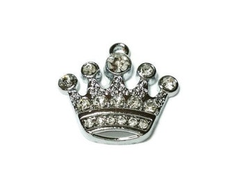 10 Crown charms, Princess Crown Charms, Silver Rhinestone Charms, Jewelry Making Supplies, Bracelet Charms, Necklace Charms, 0355, 707