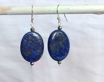 Lapis Nuggets with Pyrite Earrings