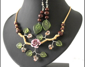 Lilac and Brown floral jewelry set