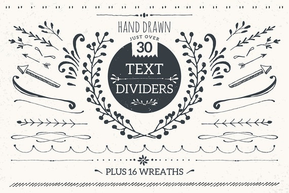 Text dividers and wreaths bundle pack / hand drawn