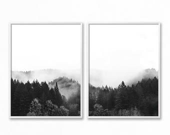 Forest Print, Forest Photography, Scandinavian Print, Minimalist 2 Piece Nature Wilderness Instant Download, Modern Minimalist, Foggy Forest