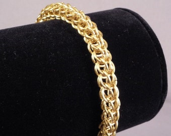 Gold tone brass FP Chainmaille bracelet, adjustable lobster clasp, chainmail, curb chain, Medieval Renaissance ShadowCutter Jewelry