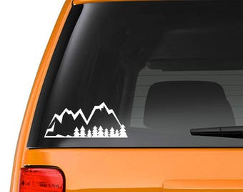 Mountain range sticker, decal, your choice of color