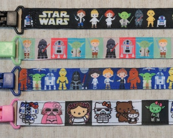 Pacifier Clip: Star Wars Luke Darth Vader Yoda Leia Han Solo C3PO R2D2 | boy & girl ribbon paci holder, baby shower gift, binky soothie mam