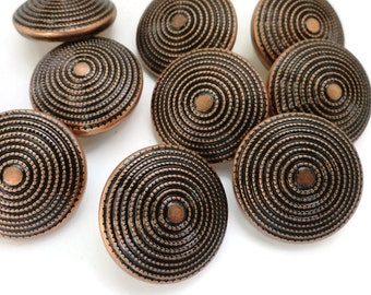 12 Copper Vintage Buttons - Metal Blazer Buttons 3/4 inch 19mm for Jewelry Supplies Beads Sewing Knitting