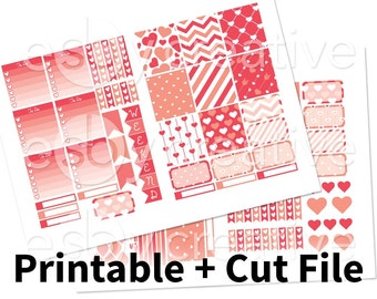 Pink Hearts - Weekly Sticker Kit Printable for Erin Condren Horizontal - HWK-001 - INSTANT DOWNLOAD