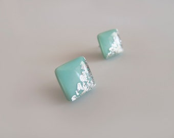 Mint Silver Square Stud Earrings - Hypoallergenic Surgical Steel Posts