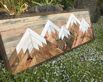 Small Five Rustic Wood Mountains Wall Art