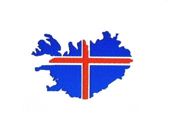 Iceland Map Flag Embroidery Designs. Set of 2 Instant Download Patterns