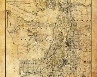 Puget Sound Map Vintage Sepia Grunge Print Poster