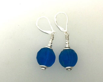 Antique Glass Bead And Silver Earrings