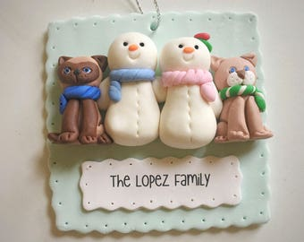Family of 2 with pet ornament - Family with dog ornament- Christmas ornament- Family with pet ornament- Snowman family ornament- Family+cat
