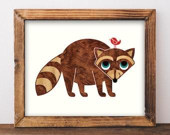 Raccoon Art Print 8x10, Baby Raccoon Animal Nursery Wall Decor, Woodland Animal Art Print, Raccoon Room Decor
