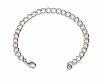 """Classic Silver Plated Bracelet for Charms for """"Snap-On"""" Charms"""