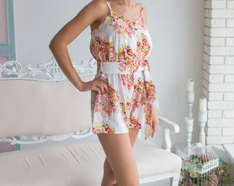 Belted Slip Rompers By Silkandmore - cute getting ready outfit, Alternative to Bridesmaids Robes, Bridesmaids Gifts, Jumpsuits