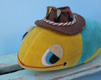 Vintage Stuffed Animal - Fish with Fishing Hat, Dream Pet