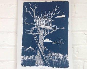 Blue Treehouse Print - Fairytale Nursery Art Print - Navy Blue Tree Print - Childhood Explorer Art - Adventure Art Print - Moon Screenprint