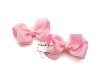"Light Pink Hair Bows - Grosgrain Ribbon 3"" - DIY Headbands Hair Clips 2 Hair Bows - No Clip DIY"