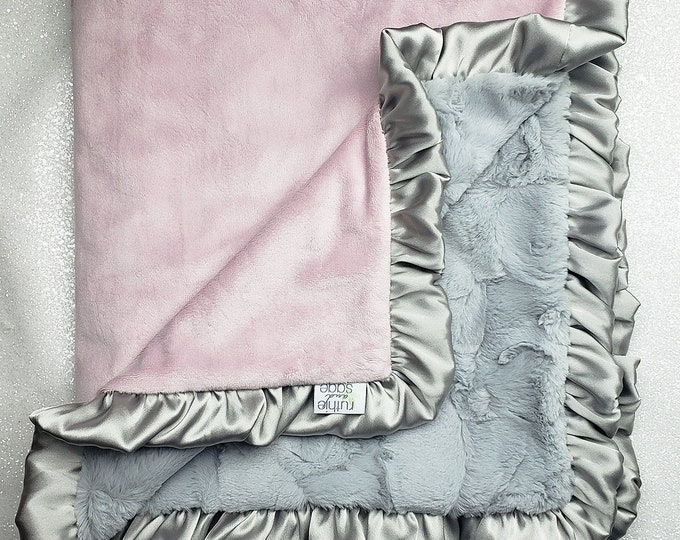 Minky blanket, faux fur throw, Rosewater hide, baby girl blanket, vintage pink, elegant plush blanket, pink and grey, pink and gold, silver