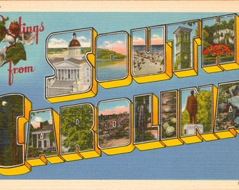 Linen Postcard, Greetings from South Carolina, State Capitol, Beaches, Large Letter, ca 1950