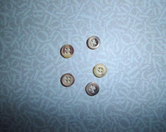set of Brown/taupe 05 buttons plastic 1 cm