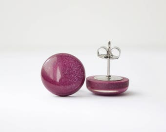 PLUM SHIMMER STUDS. Surgical Steel Posts.