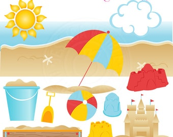 Sandcastle Play Cute Digital Clipart for Card Design, Scrapbooking, and Web Design - Summer Beach Clipart, Beach Clip Art, Sandbox