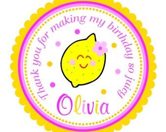 Pink Lemonade Stickers, Pink Lemonade Birthday, Personalized Favor Tags,  Set of 12