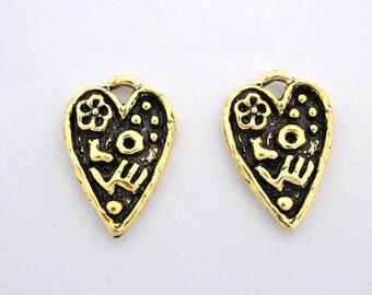 2 Heart Love Pendant Charms, vermeil Artisan handmade LOVE GARDEN organic love pendant charm, Antique gold plated 16x23
