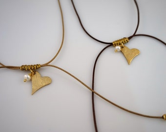 Heart necklace, gold plated sterling silver & freshwater pearl