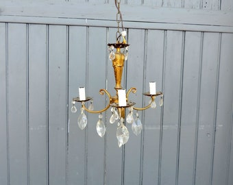 Bronze, 3 lamp crystal chandelier, ceiling light, pendant light, mid century vintage french home decor
