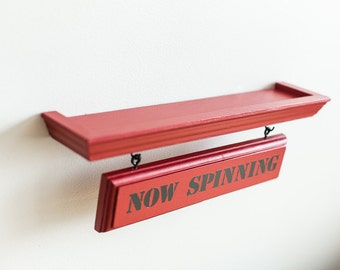 "Vinyl Record Display Stand ""NOW SPINNING"". Vintage Looking Shelf!! Red Paint."