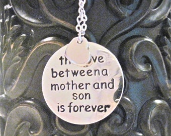 "Love Between Mother and Son Necklace  ""A Love so strong that cannot be explained with word""  Mother of the Groom and Mothers Day"
