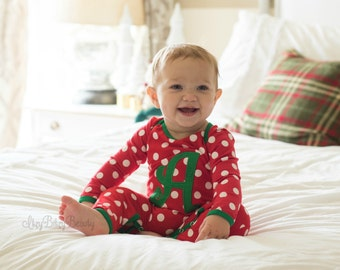 Polkadot Christmas Pajamas red and white polka dot personalized custom monogramed name monogram santa baby girls newborn