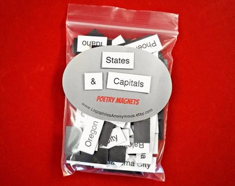 States & Capitals Poetry Magnets - Refrigerator Word Quote Magnets - Free US Shipping