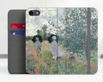 """Claude Monet """"Taking a Walk near Argenteuil"""" iPhone 8 Plus Wallet case Samsung Galaxy S7 Wallet case iPhone 7 wallet Phone cover. WC-CMO-14"""
