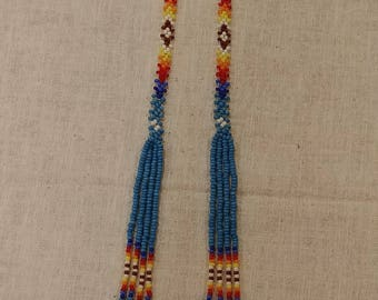 Handcrafted Native American inspired earrings, beaded pow wow earrings, turquoise, blue, white, maroon, red, orange, yellow