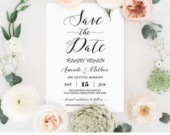 Save the Date Card Template, Printable Wedding Date Card, Rustic Modern Calligraphy, Instant Download, 100% Editable, Digital #024-116SD