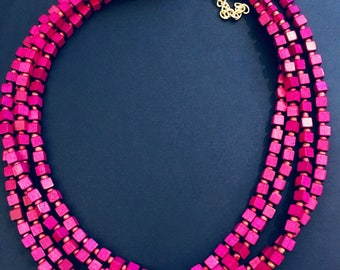 Fuchsia Purple Layered Block Necklace