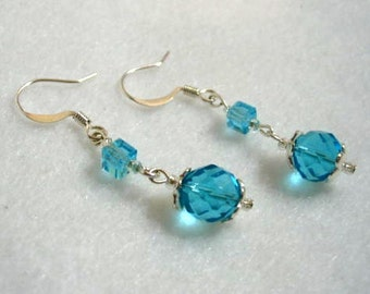 Blue Beaded Faceted Dangle Earrings, Silver Beads and Blue Crystal Jewelry, Handmade Jewelry Design