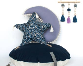"Round stuffed pouf ""Navy disk"" bean bag ottoman pouf floor pillow kids room nursery cushion"