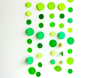 St Patricks day garland decor, Green St Paddys banner, ombre green circle paper garland, nursery decor, confetti paper garland, dot banner